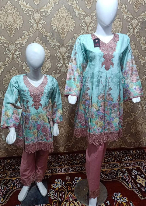 BLG5103 Light Blue Readymade Mother & Daughter Lawn Suit - Memsaab Online