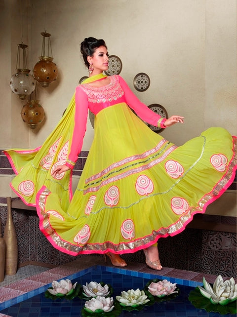 07 M9016 Mahek Green Pink Indian Pakistani Dress - Memsaab Online