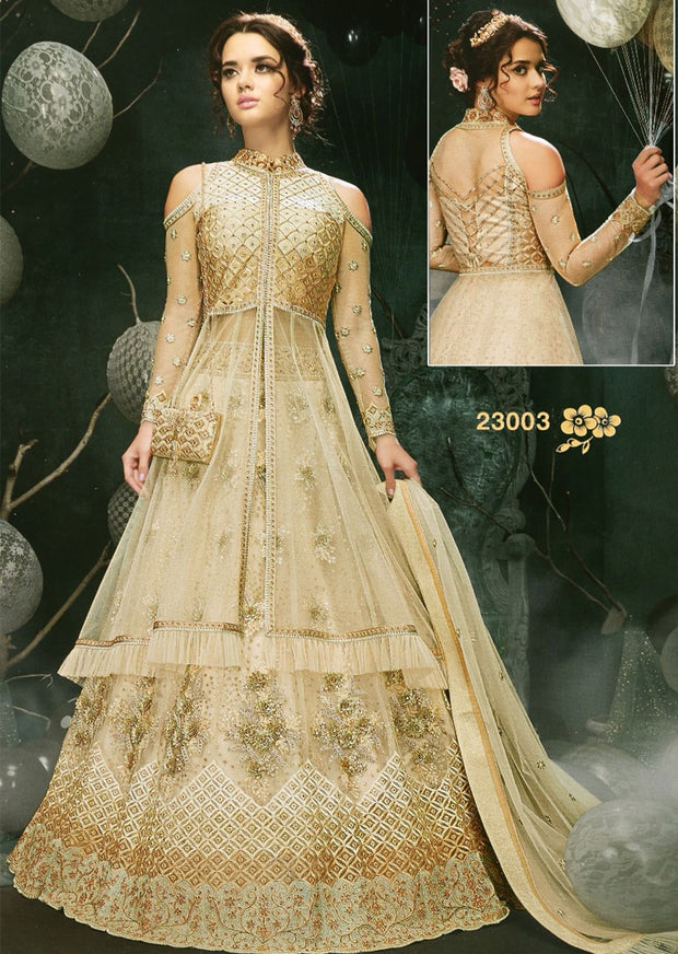 MAG23003 Unstitched - Gold - Memsaab Zoya Amrose - Indian Embroidered Dress - Memsaab Online