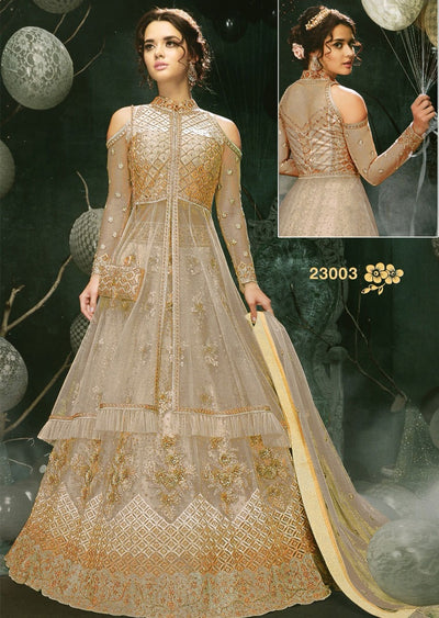 MAG23003 Unstitched - Nude - Memsaab Zoya Amrose - Indian embroidered dress - Memsaab Online