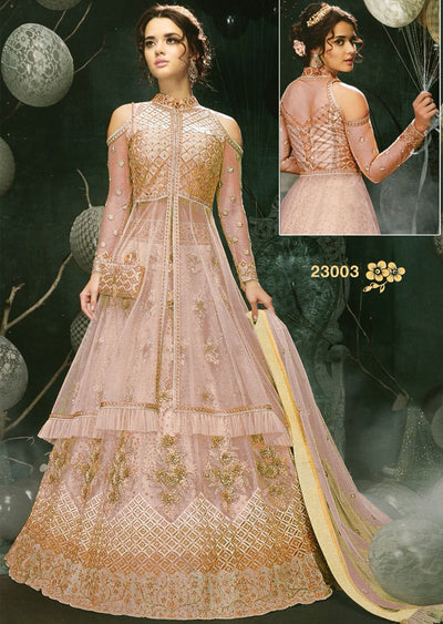 MAG23003 Unstitched - Pink - Memsaab Zoya Amrose - Indian Embroidered Dress - Memsaab Online