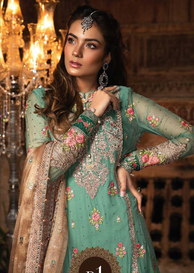 MBD01 - Maria B - Embroidered Heritage Collection 2019 - Unstitched - Pakistani Designerwear - Memsaab Online