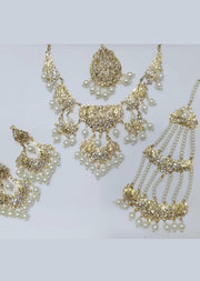 MEHAK Gold - Aari Gold Plated Necklace Set with Fresh Water Pearls - Memsaab Online