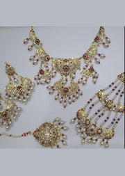 MEHAK MAROON - Aari Gold Plated Necklace Set with Fresh Water Pearls - Memsaab Online