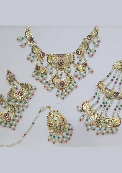 MEHAK maroon/green - Aari Gold Plated Necklace Set with Fresh Water Pearls - Memsaab Online