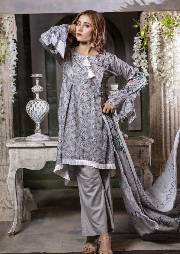 MEM652 Readymade Grey Printed Winter Suit - Memsaab Online