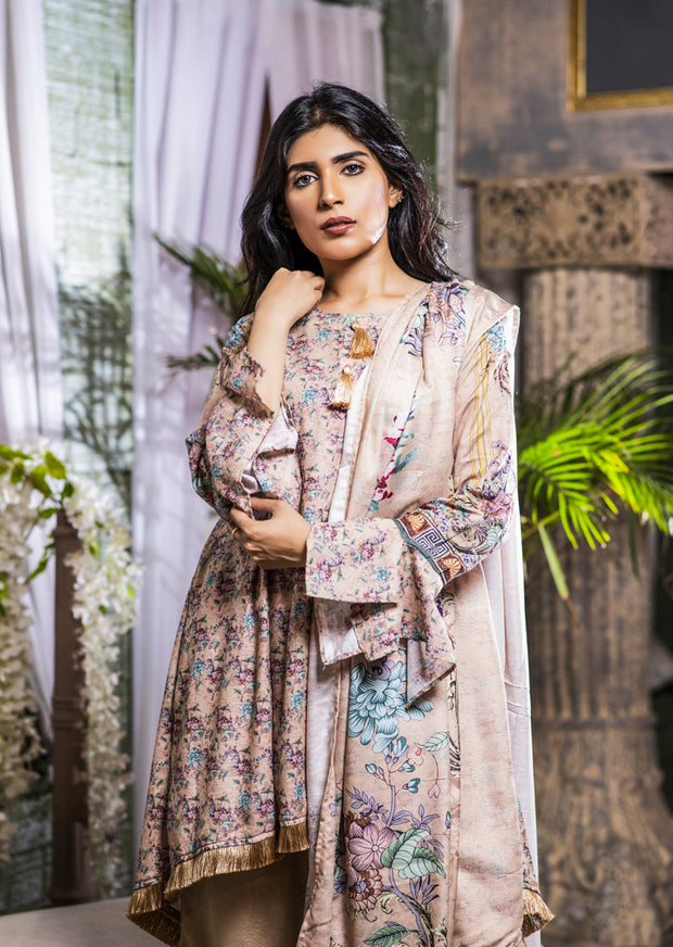 MEM652 Readymade Cream Printed Winter Suit - Memsaab Online