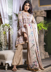 Readymade Cream Printed Winter Suit - Memsaab Online