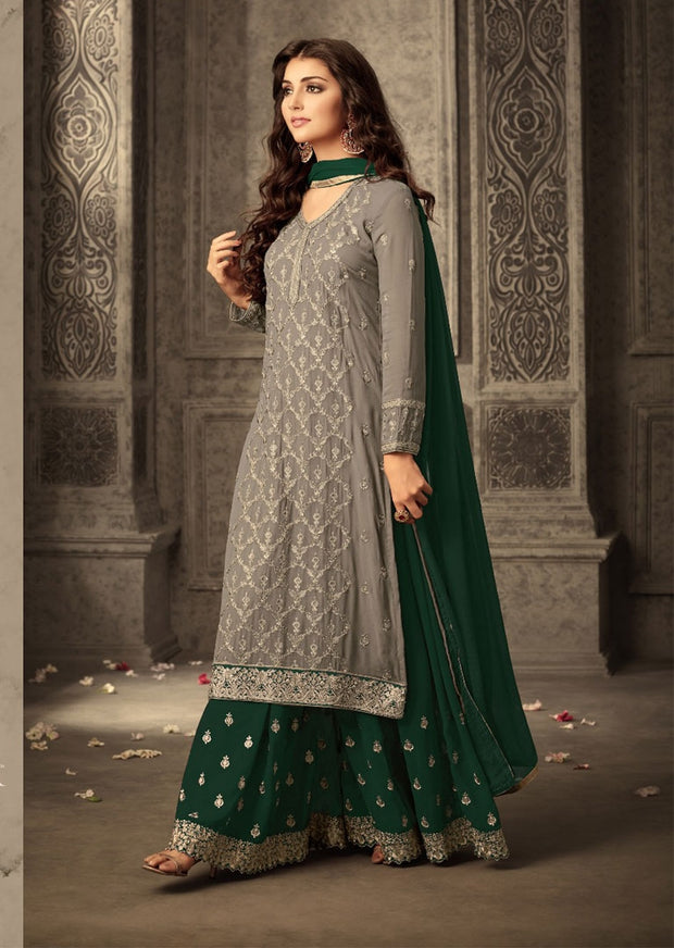 14 MG47001 Grey/Green Memsaab Mohini 47 Pakistani Shararah Suit - Memsaab Online