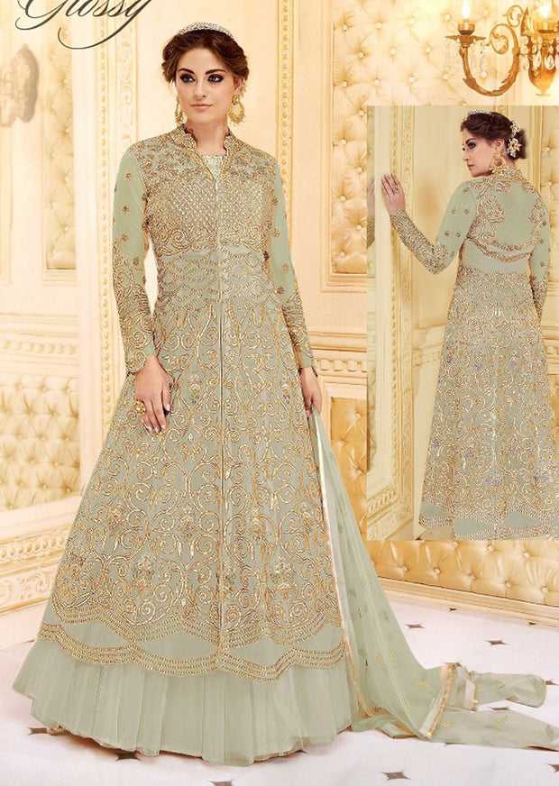 GH7279 Unstitched - Green - Memsaab glossy Amrose - Indian Designer Georgette Gown Dress - Memsaab Online