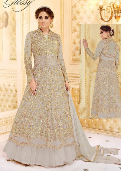GH7279 Unstitched - Grey - Memsaab glossy Amrose - Indian Designer Georgette Gown Dress - Memsaab Online