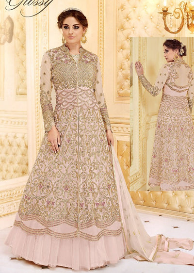 GH7279 Unstitched - Pink - Memsaab glossy Amrose - Indian Designer Georgette Gown Dress - Memsaab Online