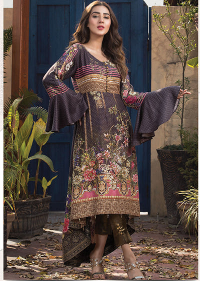 Midnight Glam - Ready to Wear Embroidered Linen Suit - Crisanthe by Sofia Khas - Memsaab Online