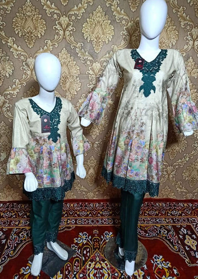 BLG5103 Mint Readymade Mother & Daughter Lawn Suit - Memsaab Online