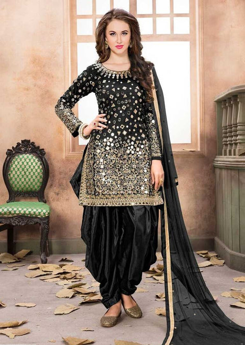 MP40004 Black Mirror Indian Patiyala Salwar Suit - Memsaab Online