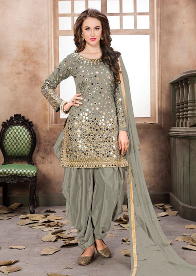 Light Grey Mirror Indian Patiyala Salwar Suit - Memsaab Online