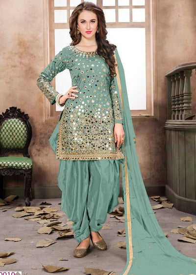 Mint Mirror Indian Patiyala Salwar Suit - Memsaab Online