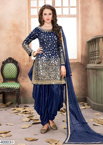 Blue Mirror Indian Patiyala Salwar Suit - Memsaab Online