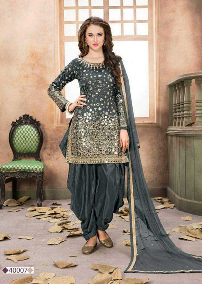 Grey Mirror Indian Patiyala Salwar Suit - Memsaab Online