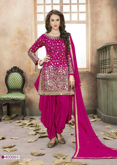 pink Mirror Indian Patiyala Salwar Suit - Memsaab Online