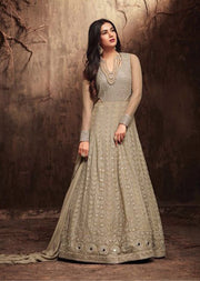 Unstitched - Beige - Maisha Amrose Roush Replica- Indian Designer Dress - Memsaab Online