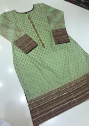 MR901 Mint Cotton Jacquard Kurti - Memsaab Online