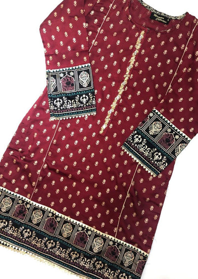 MR910 Readymade Red Silk Kurti - Memsaab Online