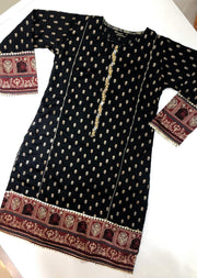 MR910 Readymade Black Silk Kurti - Memsaab Online