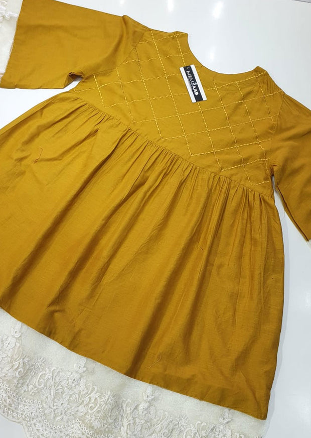 MR911 Readymade Mustard Maryams Lawn Peplum - Memsaab Online
