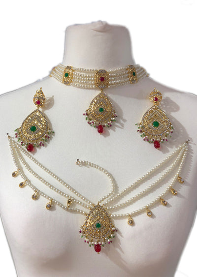 Maroon/Green - Aari Gold Plated Necklace Set with Fresh Water Pearls - Memsaab Online