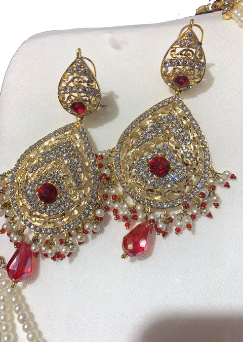 Red - Aari Gold Plated Necklace Set with Fresh Water Pearls - Memsaab Online