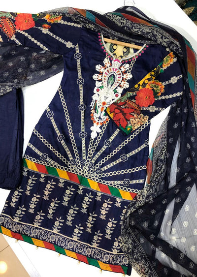BA2575 B Readymade Navy Embroidered Lawn Suit - Memsaab Online