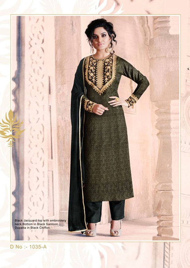 04 NK1035 Dark Green Nakkashi Essenita Original Indian Pakistani Embroidered Sale Bargain Suit Salwar Kameez - Memsaab Online