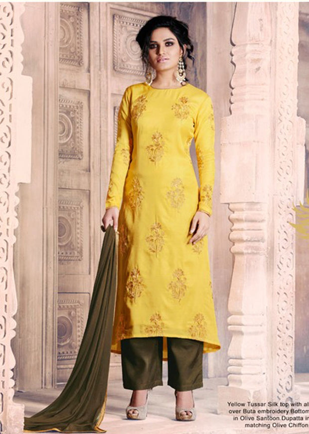 04 NK1036 Yellow Nakkashi Essenita Original Indian Pakistani Embroidered Sale Bargain Suit Salwar Kameez - Memsaab Online