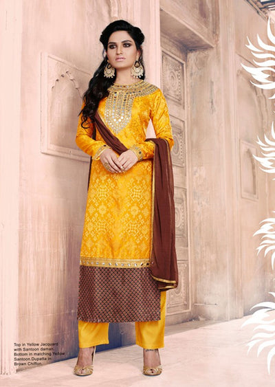 04 NK1037 Yellow Nakkashi Essenita Original Indian Pakistani Embroidered Sale Bargain Suit Salwar Kameez - Memsaab Online
