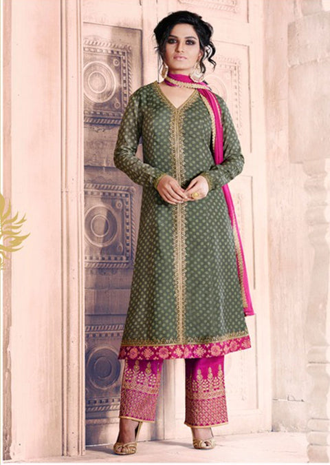 04 NK1038 Green Nakkashi Essenita Original Indian Pakistani Embroidered Sale Bargain Suit Salwar Kameez - Memsaab Online