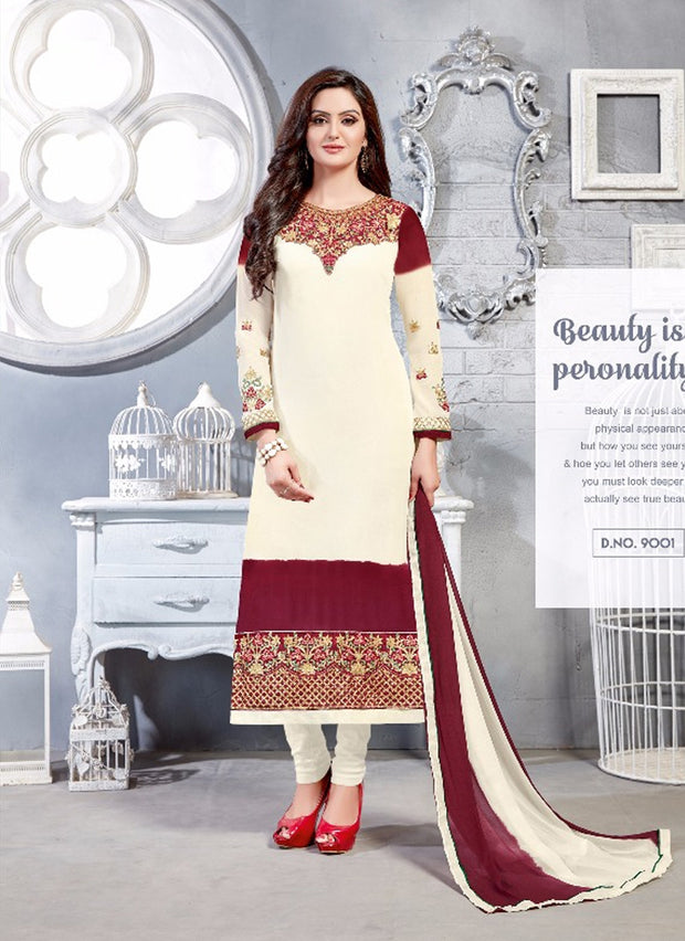 06 NKS9001 White/maroon Nakshatara Vol 1 Indian Salwar Kameez Sale Suit Pakistani - Memsaab Online