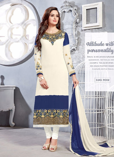 06 NKS9001 White/Navy Nakshatara Vol 1 Indian Salwar Kameez Sale Suit Pakistani - Memsaab Online