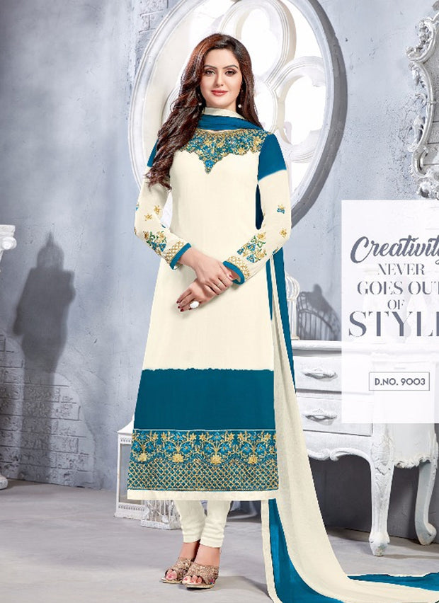 06 NKS9001 White/Teal Nakshatara Vol 1 Indian Salwar Kameez Sale Suit Pakistani - Memsaab Online