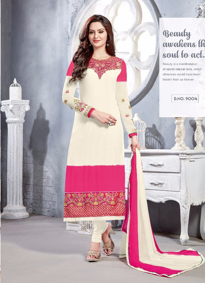 06 NKS9001 White/hot pink Nakshatara Vol 1 Indian Salwar Kameez Sale Suit Pakistani - Memsaab Online