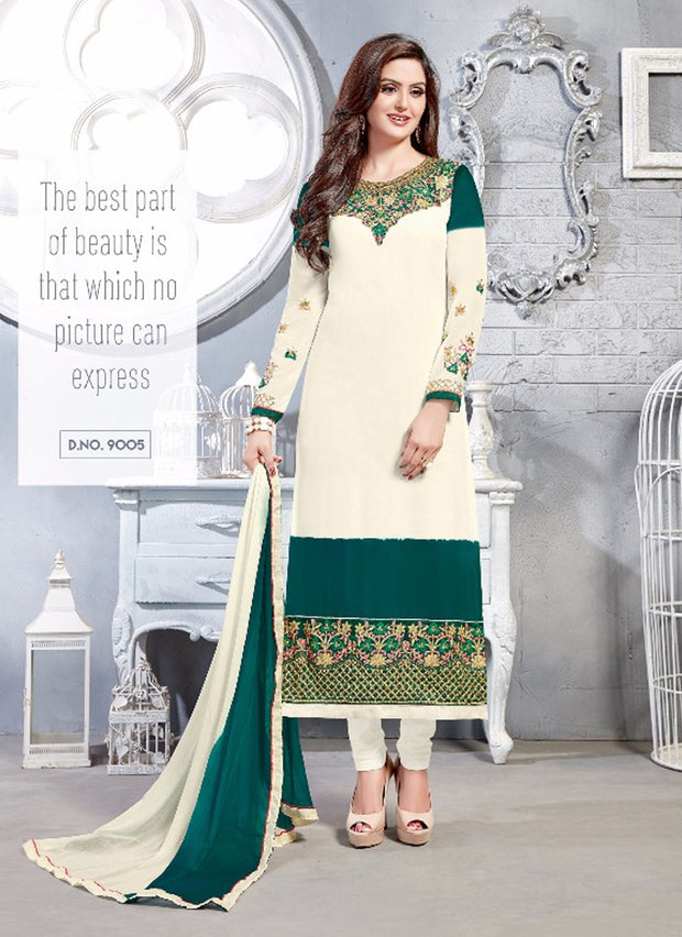 06 NKS9001 White/Green Nakshatara Vol 1 Indian Salwar Kameez Sale Suit Pakistani - Memsaab Online