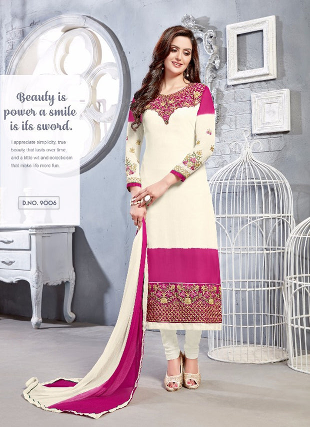 06 NKS9001 White/magenta Nakshatara Vol 1 Indian Salwar Kameez Sale Suit Pakistani - Memsaab Online