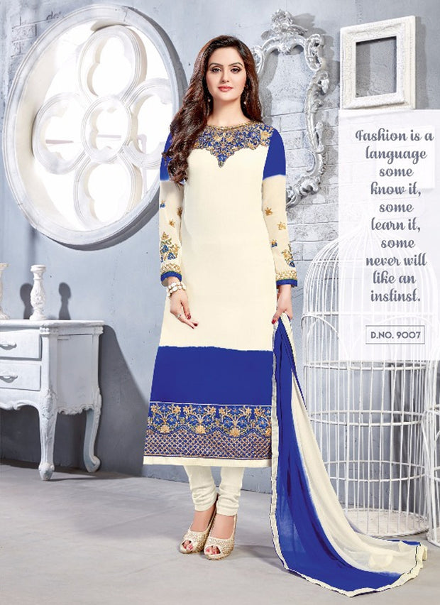 06 NKS9001 White/Blue Nakshatara Vol 1 Indian Salwar Kameez Sale Suit Pakistani - Memsaab Online