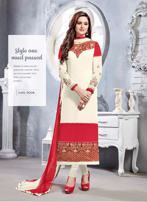 06 NKS9001 White/Red Nakshatara Vol 1 - Memsaab Online