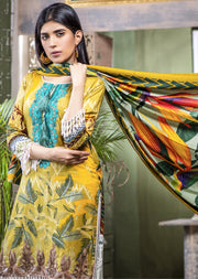 NU601 - Readymade - Embroidered Linen Wool Shawl Collection 2019 - Memsaab Online