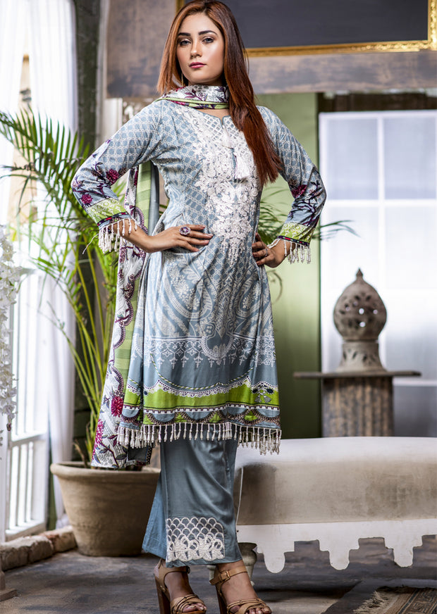 NU602 - Readymade - Dress- Embroidered Linen Wool Shawl Collection 2019 - Memsaab Online