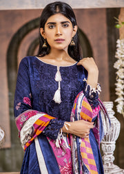 NU603 - Readymade - Blue Dress- Embroidered Linen Wool Shawl Collection 2019 - Memsaab Online