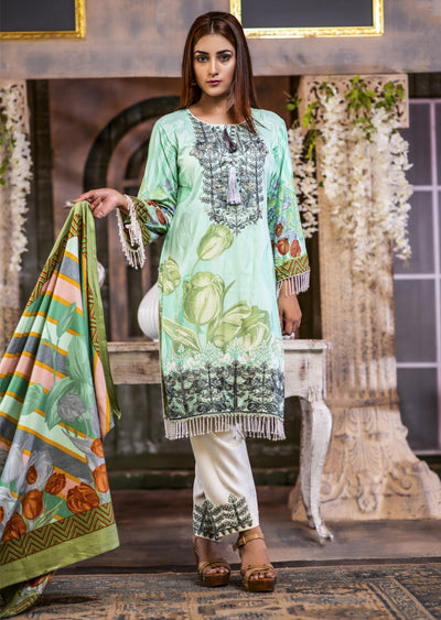 Readymade - Mint Kameez- Embroidered Linen Wool Shawl Collection 2019 - Memsaab Online