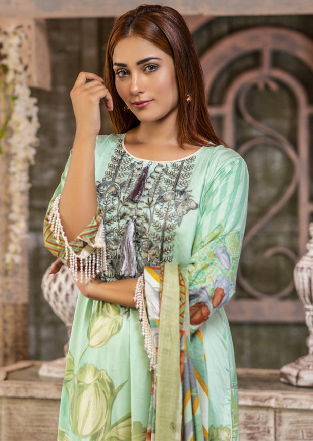 NU604 - Readymade - Mint Kameez- Embroidered Linen Wool Shawl Collection 2019 - Memsaab Online