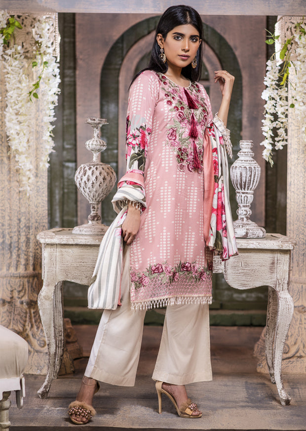 NU605 - Readymade - Pink Kameez- Embroidered Linen Wool Shawl Collection 2019 - Memsaab Online